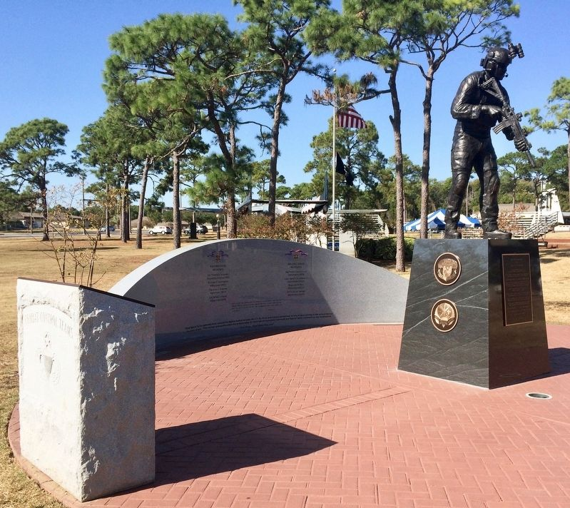 View of statue and Combat Control Team and Air Force Cross memorials. image. Click for full size.