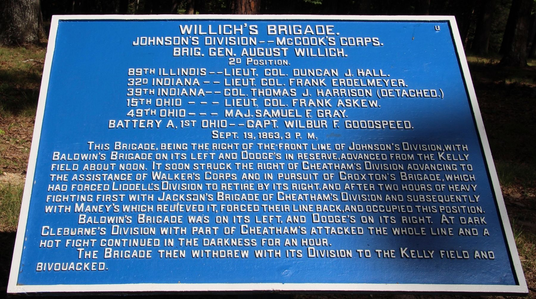 Willich's Brigade. Marker image. Click for full size.