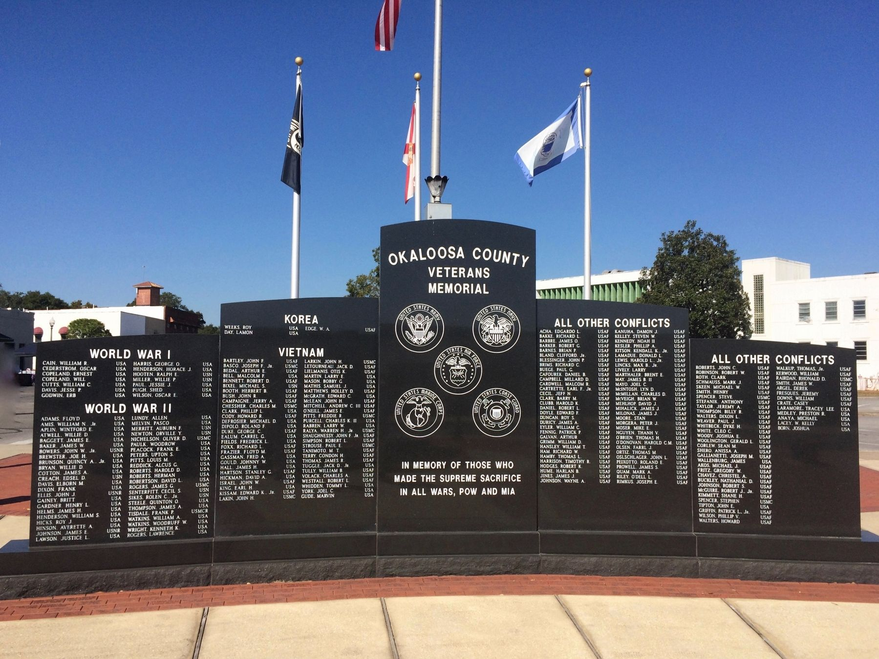 Okaloosa County Veterans Memorial image. Click for full size.