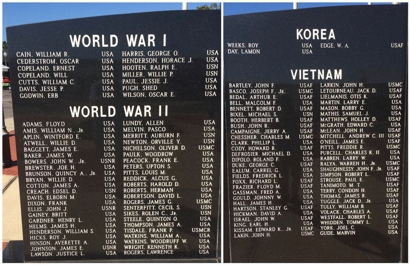 World War I, World War II, Korea & Vietnam Veterans image. Click for full size.