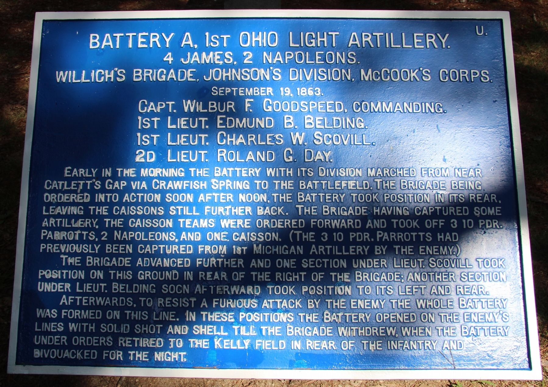 Battery A, 1st Ohio Light Artillery Marker image. Click for full size.