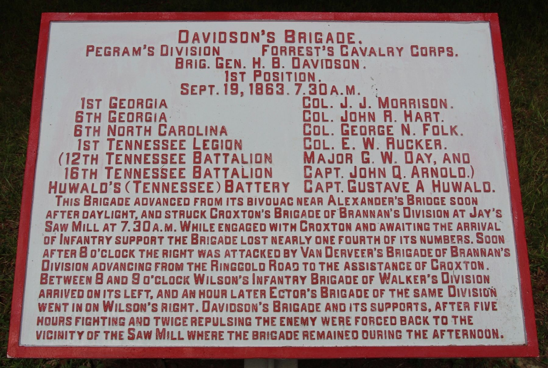 Davidson's Brigade Marker image. Click for full size.
