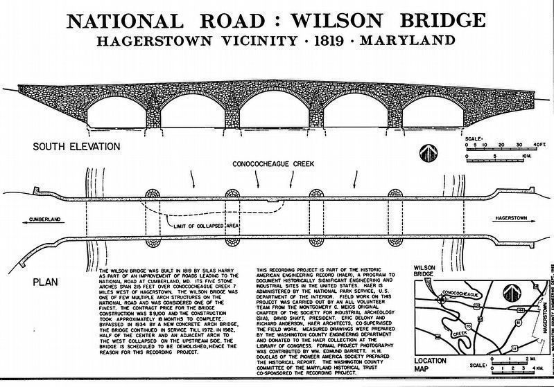 Wilson Bridge<br>South Elevation & Plan view, showing collapsed roadway image. Click for full size.