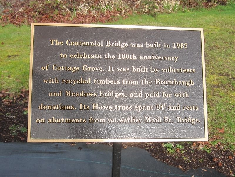 The Centennial Bridge Marker image. Click for full size.