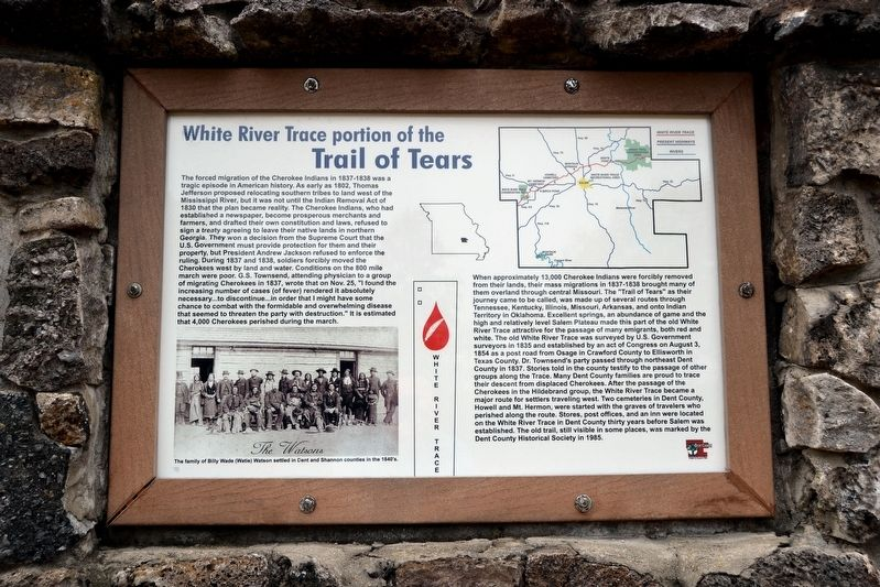 White River Trace portion of the Trail of Tears Marker image. Click for full size.