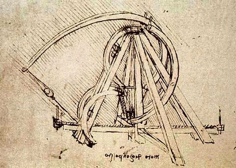 Catapult designed by Leonardo da Vinci image. Click for full size.