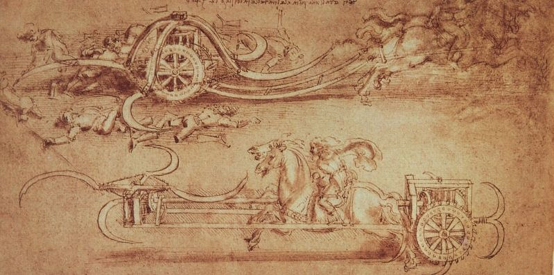 The Scythed Chariot as drawn by Leonardo da Vinci image. Click for full size.
