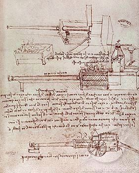 An Architonnerre or steam cannon designed by Leonardo da Vinci image. Click for full size.