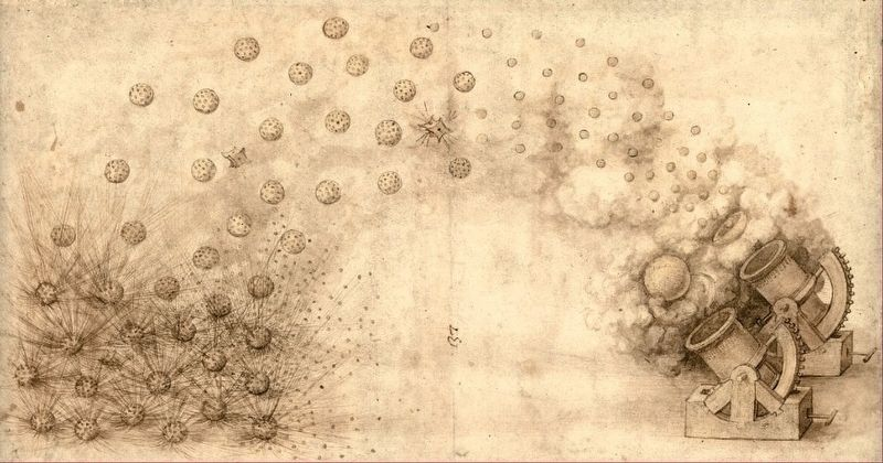 Projectile ideas designed by Leonardo da Vinci image. Click for full size.