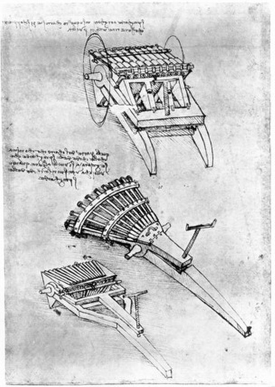 Designs for multi-barrel cannons by Leonardo da Vinci image. Click for full size.
