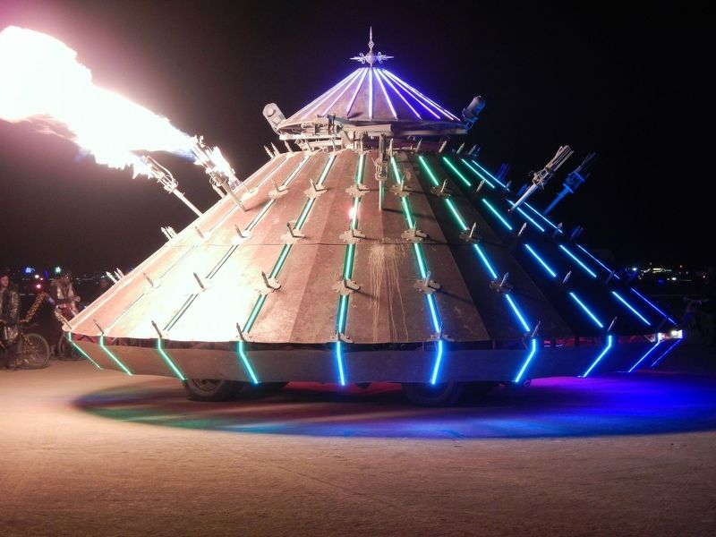 Leonardo da Vinci's design for a 'tank' as interpreted at Burning Man 2016 image. Click for full size.
