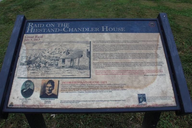 Raid on Hiestand-Chandler House Marker image. Click for full size.
