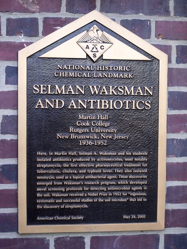 Selman Waksman and Antibiotics Marker image. Click for full size.
