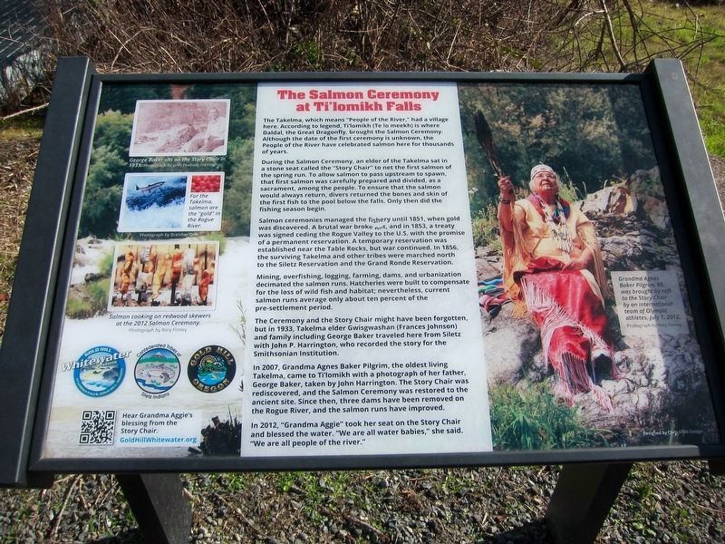 The Salmon Ceremony at Ti'lomikh Falls Marker image. Click for full size.