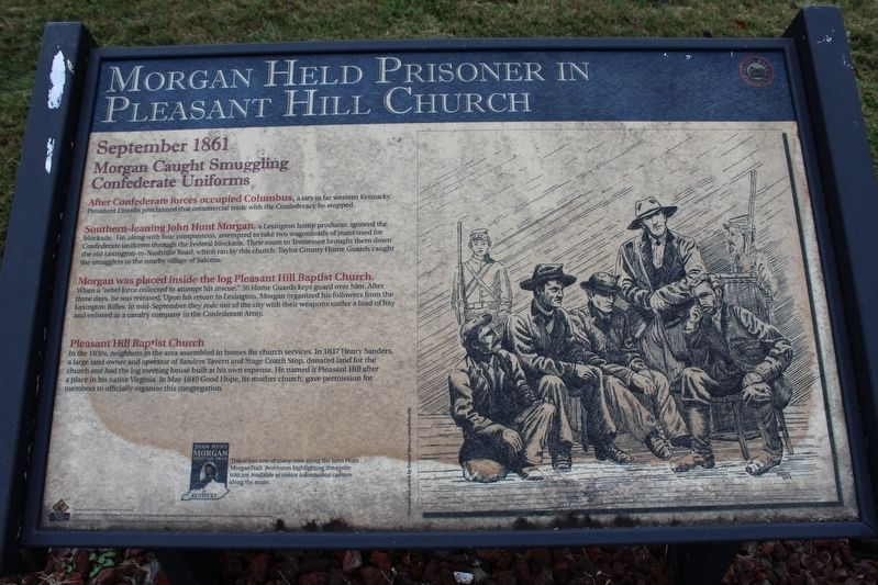 Morgan Held Prisoner at Pleasant Hill Marker image. Click for full size.