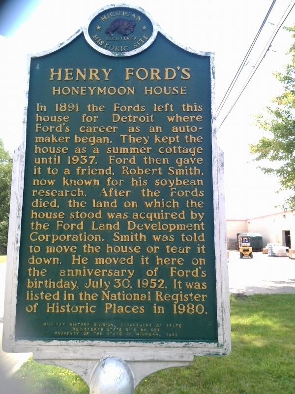 Henry Ford's Honeymoon House Marker - Side 2 image. Click for full size.