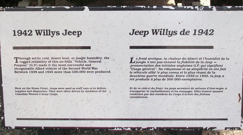 1942 Willys Jeep / Jeep Willys de 1942 Marker image. Click for full size.