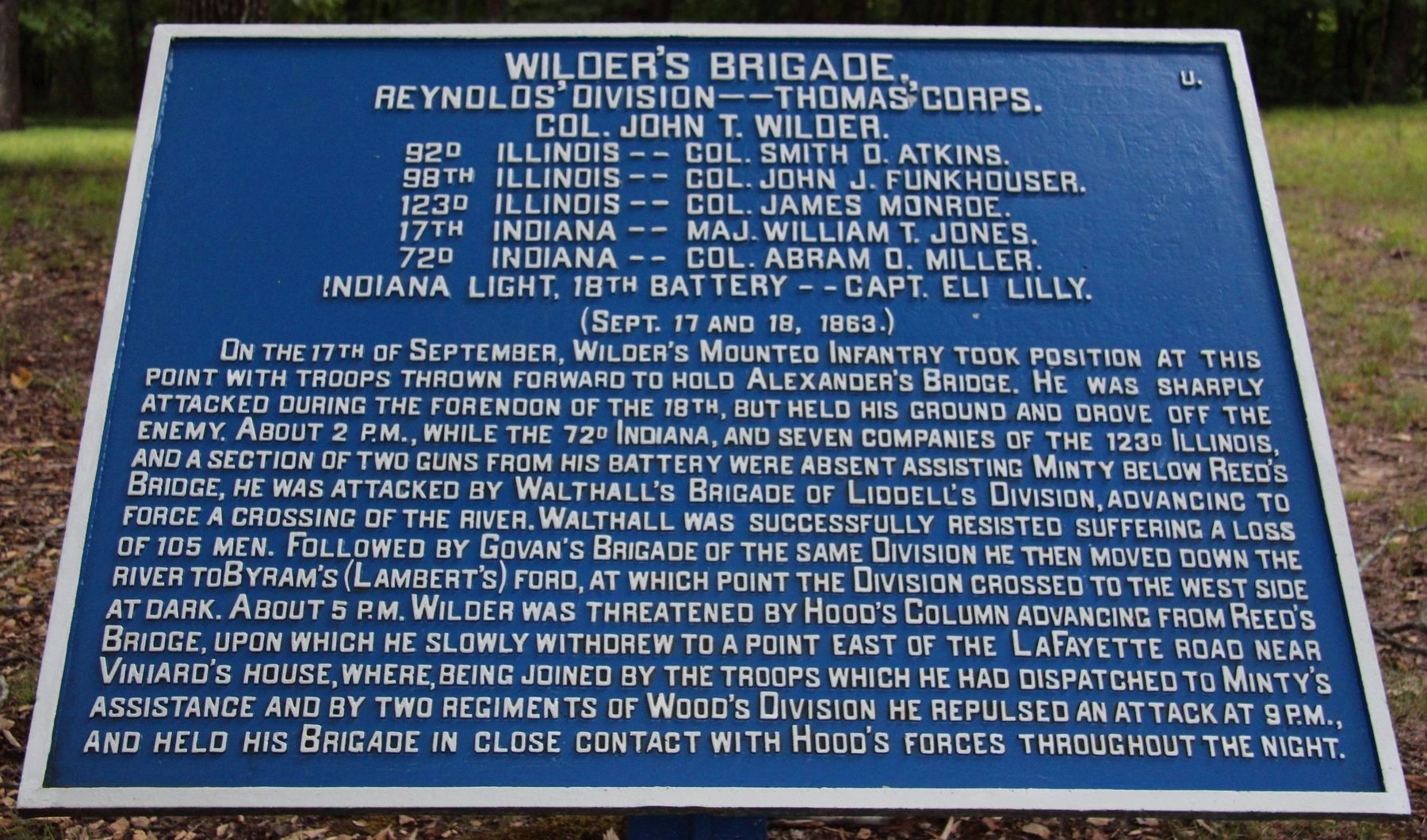 Wilder's Brigade Marker image. Click for full size.