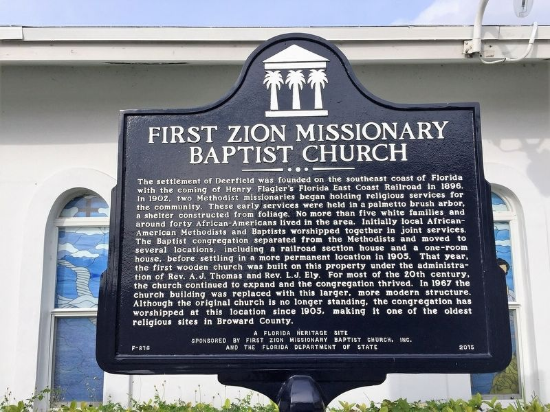 First Zion Missionary Baptist Church Marker image. Click for full size.