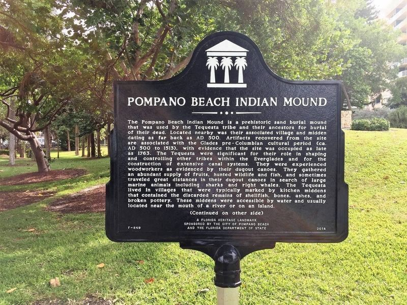 Pompano Beach Indian Mound Marker image. Click for full size.
