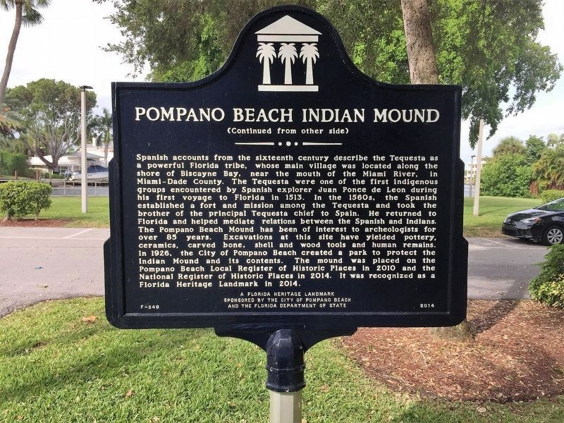 Pompano Beach Indian Mound Marker (side 2) image. Click for full size.