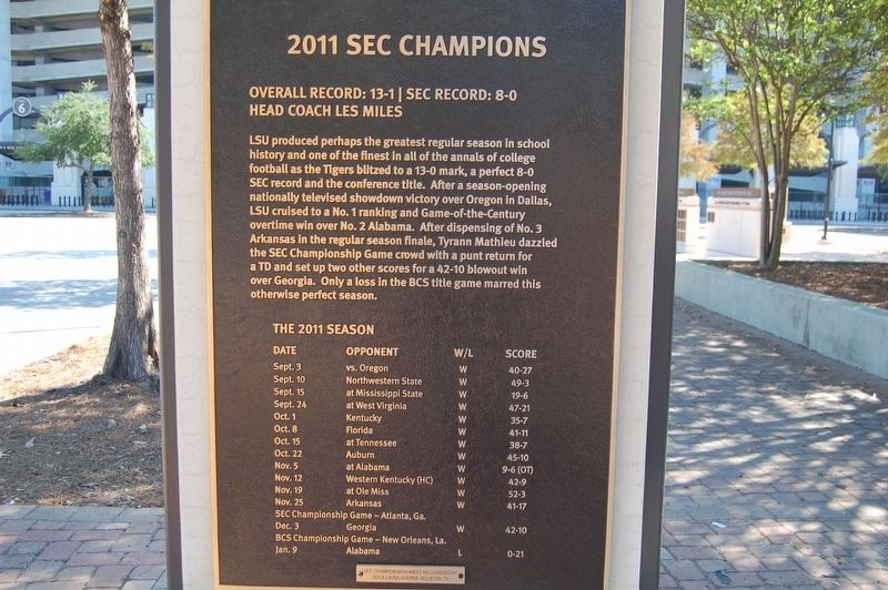2011 SEC Champions Marker image. Click for full size.