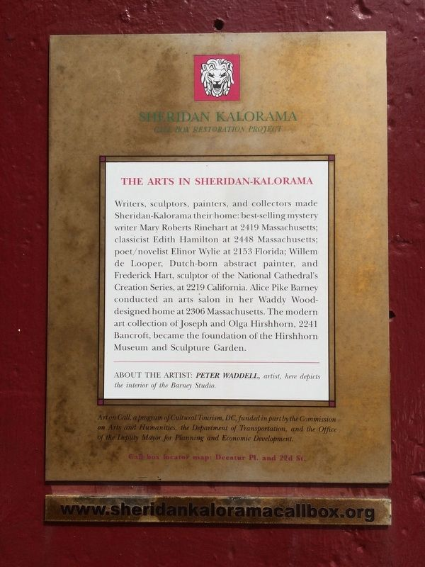 The Arts in Sheridan-Kalorama Marker image. Click for full size.