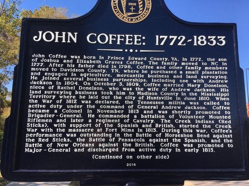 John Coffee: 1772~1833 Marker image. Click for full size.