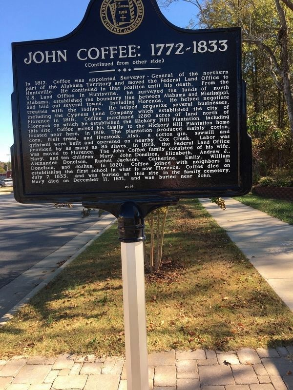 John Coffee: 1772~1833 Marker Side 2 image. Click for full size.