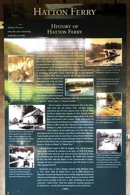 Hatton Ferry — History of Hatton Ferry Marker image. Click for full size.