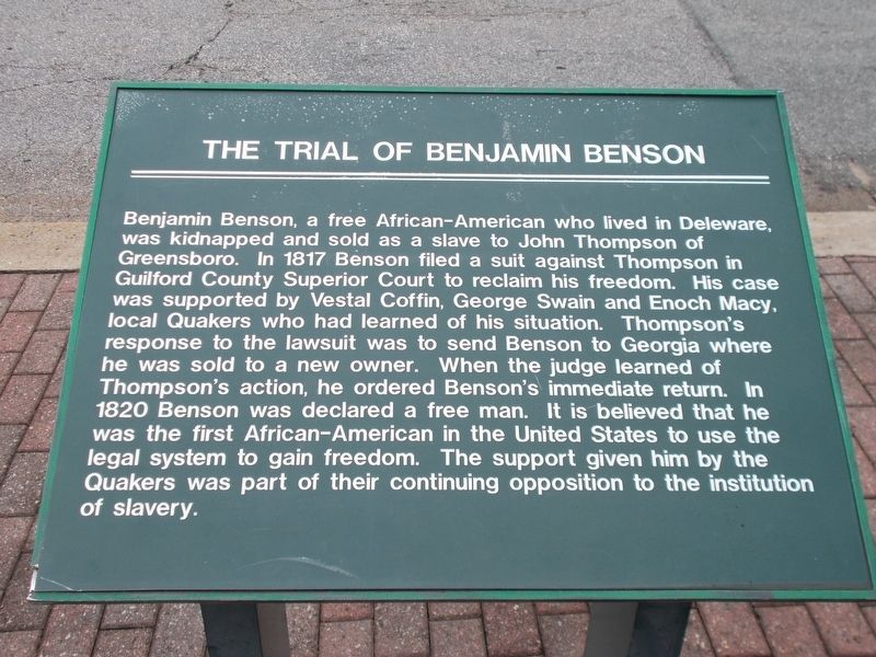 The Trial Of Benjamin Benson Marker image. Click for full size.