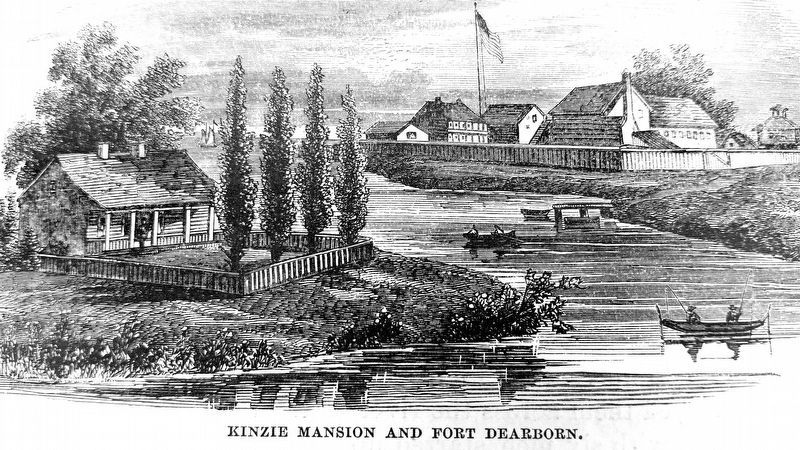 Kinzie Cabin and Fort Dearborn image. Click for full size.