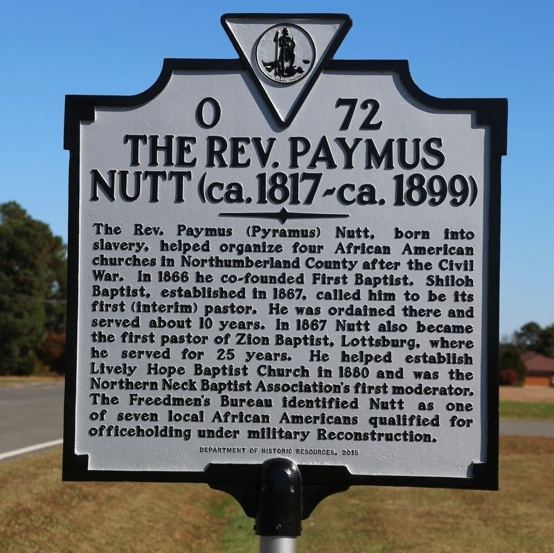 The Rev. Paymus Nutt Marker image. Click for full size.