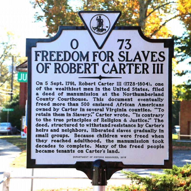 Freedom for Slaves of Robert Carter III Marker image. Click for full size.