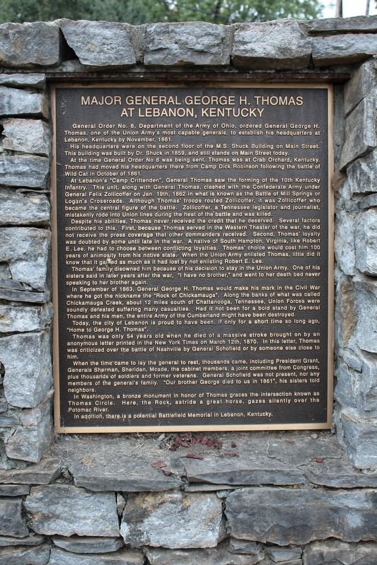Major General George H. Thomas at Lebanon, Kentucky Marker image. Click for full size.