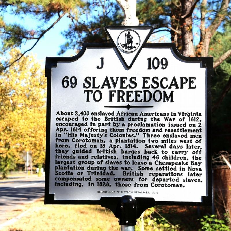 69 Slaves Escape to Freedom Marker image. Click for full size.