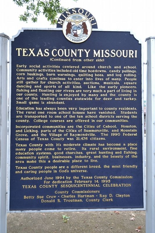 Texas County Missouri Marker image. Click for full size.