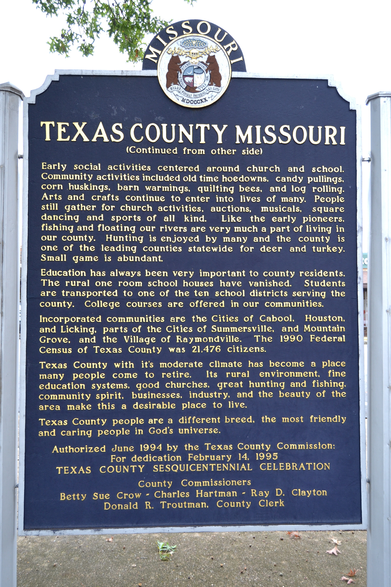 Texas County Missouri Marker