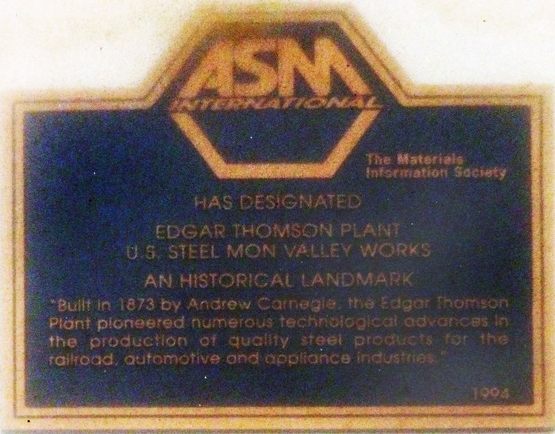 Edgar Thomson Plant Marker image. Click for full size.