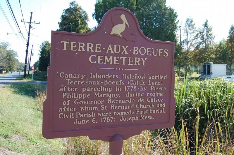 Terre-Aux-Boeufs Cemetery Marker image. Click for full size.