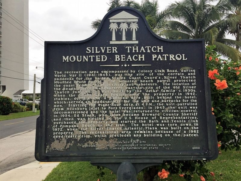 Silver Thatch Mounted Beach Patrol Marker image. Click for full size.