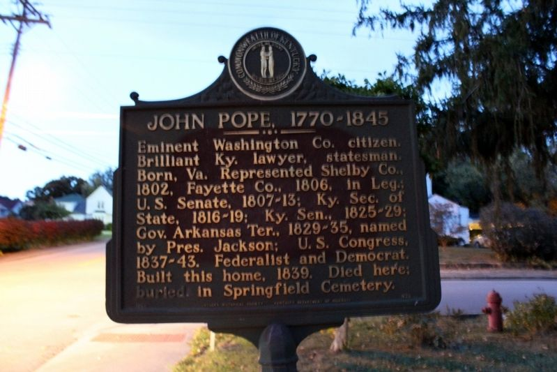 John Pope, 1770-1845 Marker image. Click for full size.