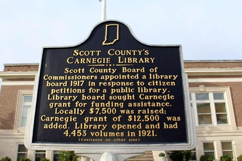 Scott County's Carnegie Library Marker (Side 1) image. Click for full size.