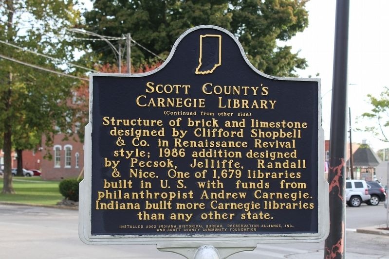 Scott County's Carnegie Library Marker (Side 2) image. Click for full size.