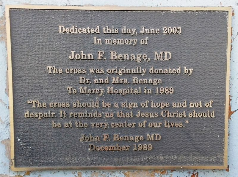 Mercy Hospital Cross Marker image. Click for full size.
