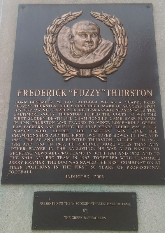 "Frederick ""Fuzzy"" Thurston Marker image. Click for full size."