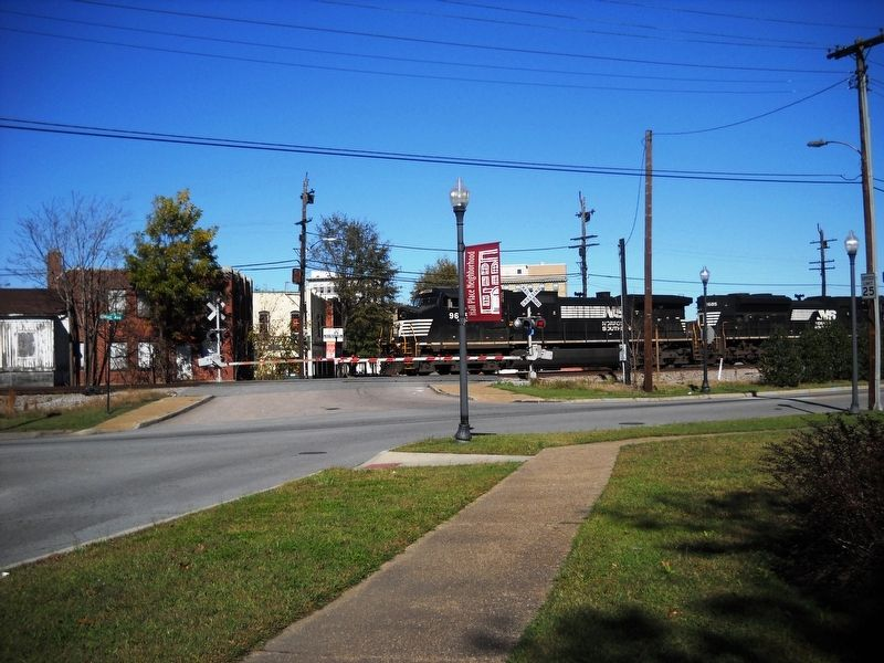 Downtown Suffolk is north of Mr. Peanut across the railroad tracks. image. Click for full size.
