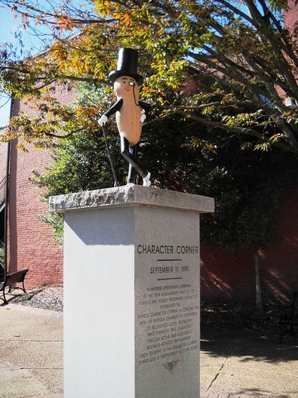 Mr. Peanut statue in downtown Suffolk. image. Click for full size.