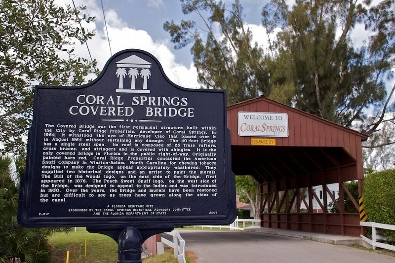 Coral Springs Covered Bridge Marker image. Click for full size.
