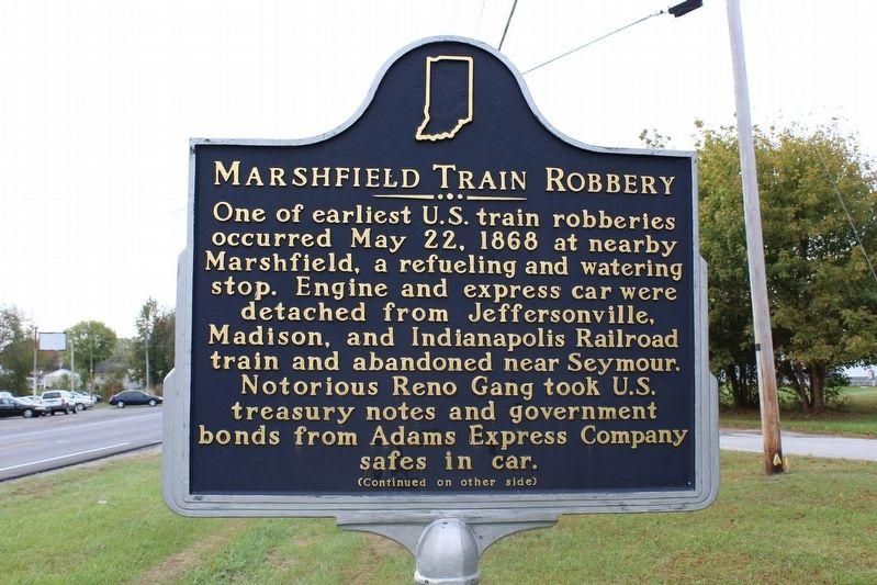 Marshfield Train Robbery Marker (Side 1) image. Click for full size.